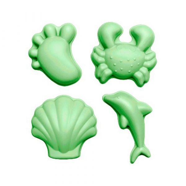 Scrunch Zandvormen, Set van 4 Flexibele Vormen Voet, Krab, Schelp en Dolfijn pastel groen online bestellen